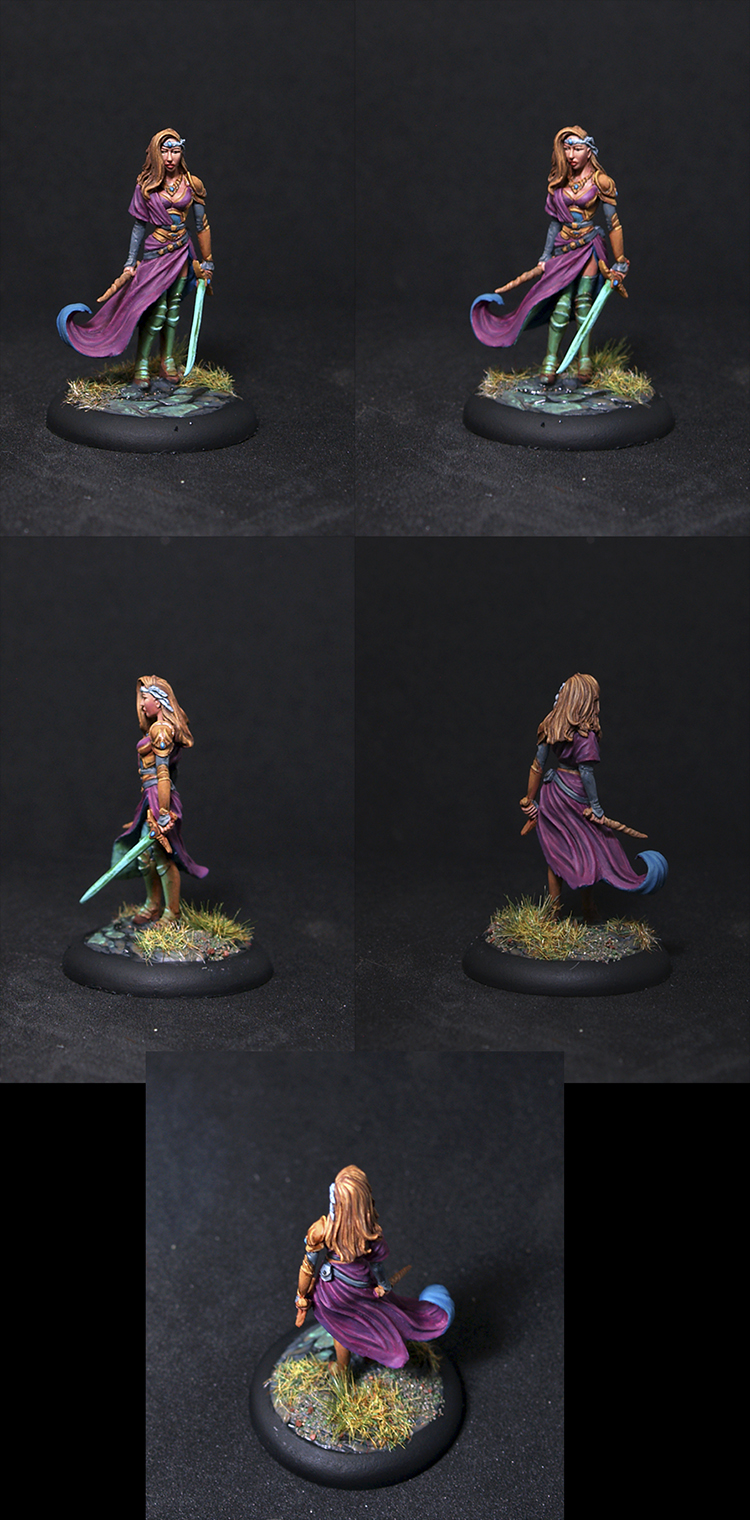 Female Warrior Mage with Sword and Wand