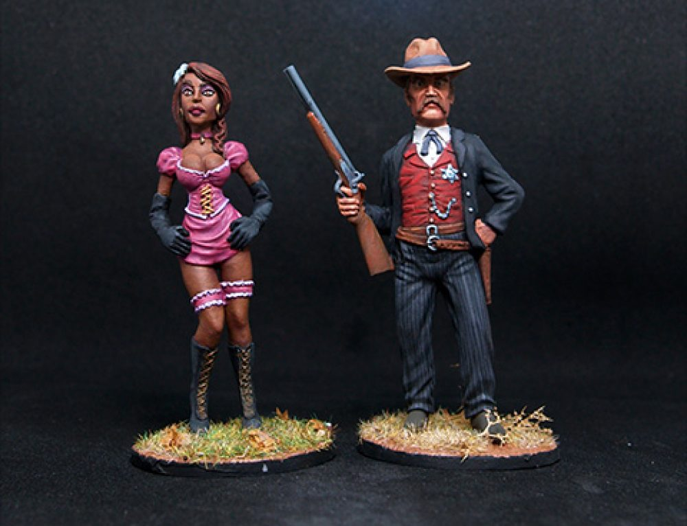 54mm Wild West Sheriff & Exotic Can-can Girl