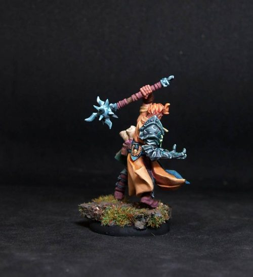 Male cleric.Rpg rol character or npc.Hand painted miniature.Printed