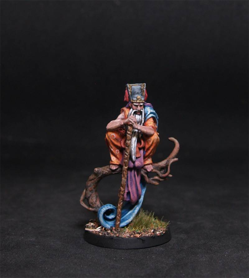 Old man on tree.Rpg character.Hand painted miniature