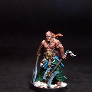 Oriental warrior w two axes.Rpg character.Hand painted miniature